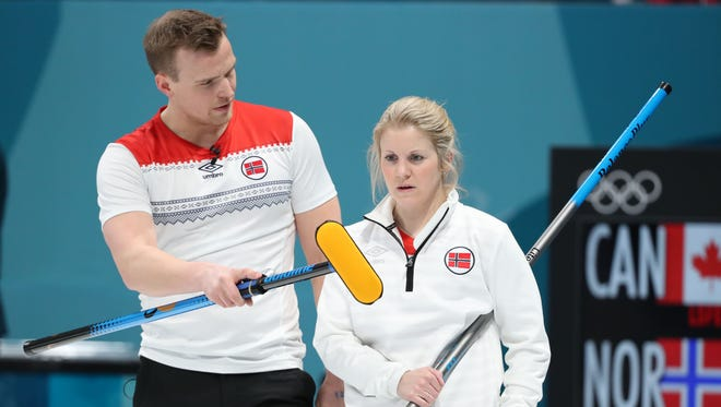 Kristin Skaslien and Magnus Nedregotten Norway compete in the curling mixed doubles semifinal during the Pyeongchang 2018 Olympic Winter Games at Gangneung Curling Centre on Feb. 12.
