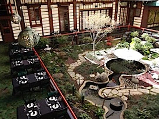Tables offer views of an outdoor courtyard at Yamashiro in Hollywood.