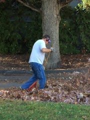 Jon Knudsen, horticulture staff at Bard College in Annandale, recently tended to the grounds' many fall leaves with a rake.