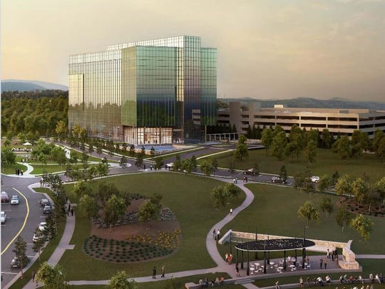 A rendering of the Two Franklin Park office building,