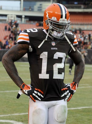 Cleveland Browns wide receiver Josh Gordon (12) walks off the field after the Browns lost to the Jacksonville Jaguars 32-28 at FirstEnergy Stadium.