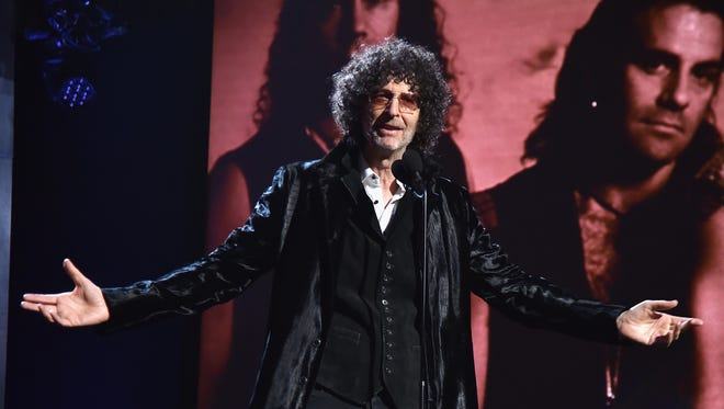 Howard Stern inducts Bon Jovi at the 2018 Rock and Roll Hall of Fame ceremony.