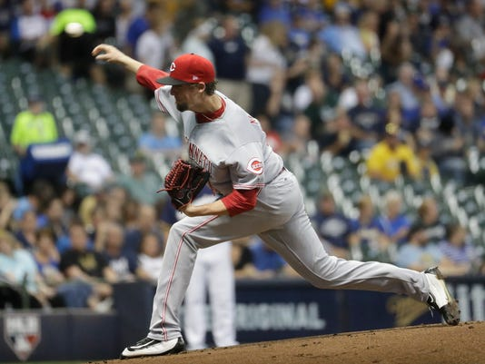 Cincinnati Reds starting pitcher Deck McGuire throws during the first inning of a baseball game against the Milwaukee Brewers Tuesday, Sept. 26, 2017, in Milwaukee. (AP Photo/Morry Gash)
