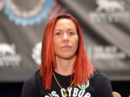 Cris (Cyborg) Justino takes questions before the Claressa