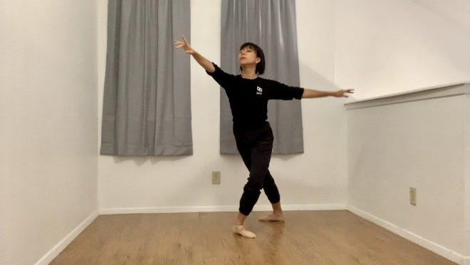 Alexa Capareda has taught dance classes remotely from her home for the Ballet Austin's Butler Center for Dance and Fitness.