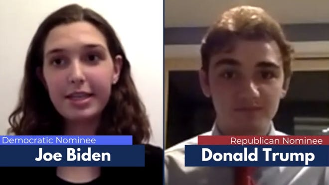 A screenshot of the Natick High School's mock debate.