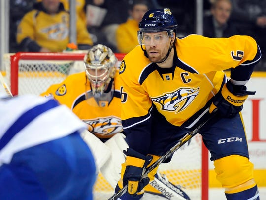 Nashville Predators defenseman Shea Weber has 14 goals