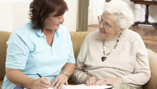 A support network for an elderly parent may include a health-care professional who makes regular in-home visits.