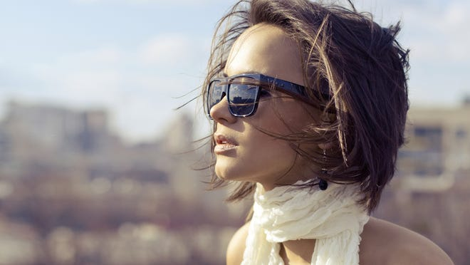 Sunglasses add an element of stylish sophistication, but also help protect the eyes from harmful rays.
