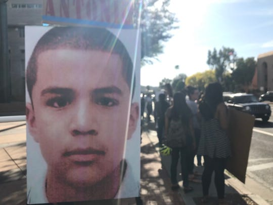 """Dozens of protesters gathered Monday afternoon to protest the """"not guilty"""" verdict in the slaying of 16-year-old Jose Antonio Elena Rodriguez (pictured) at the hands of a Border Patrol agent."""