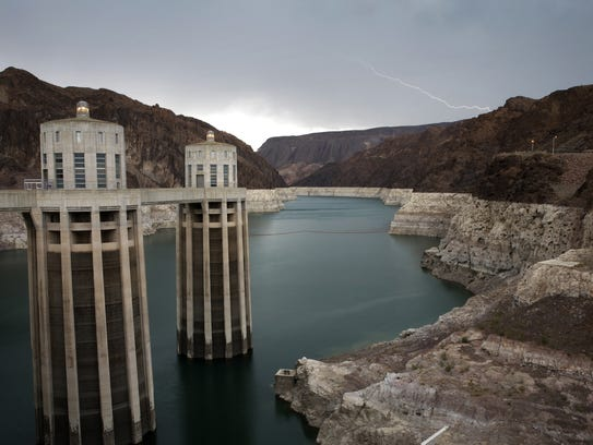 The water level in Lake Mead, near Las Vegas, has declined dramatically in recent years.