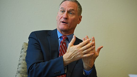 South Dakota Governor Dennis Daugaard speaks to Argus