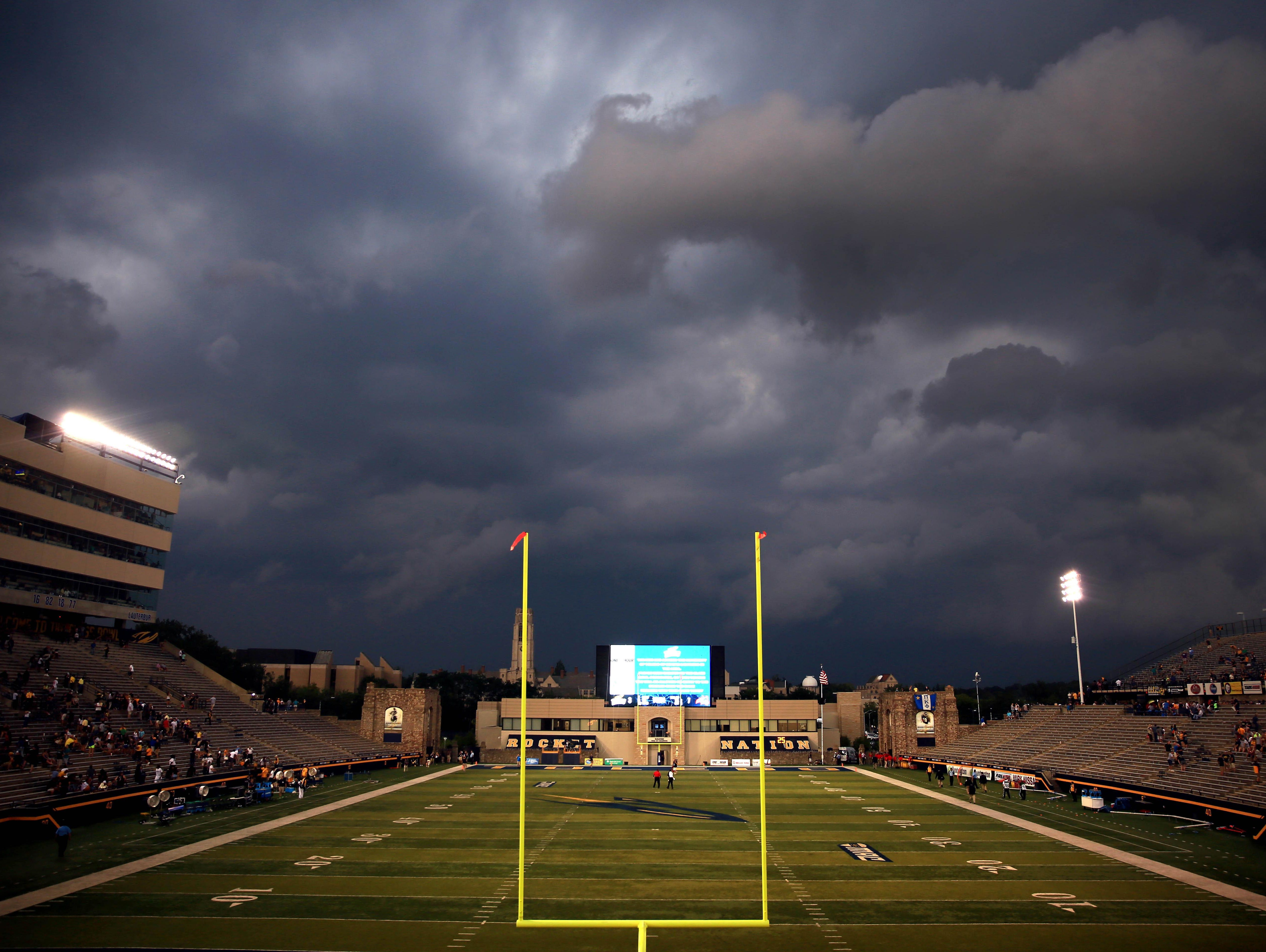 Lightning delays that totaled more than three and a half hours canceled Toldeo's season-opening game at its home field, the Glass Bowl, last week. Toledo led Stony Brook, 16-7, at halftime when the game was stopped.