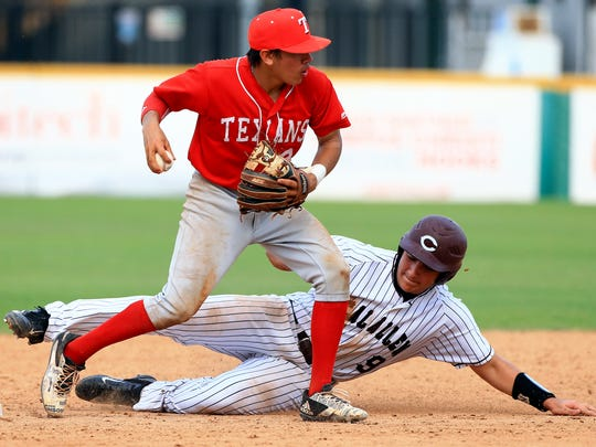 Ray's Antonio Valdez looks to throw to first base as he tags Calallen's Brent Games at second base during game 3 of the Class 5A regional quarterfinals series on Saturday, May 20, 2017, at Whataburger Field in Corpus Christi.