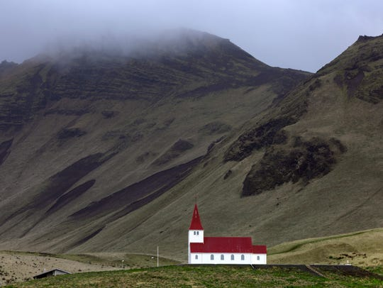The Vik I Myrdal Church sits up on the hill and is