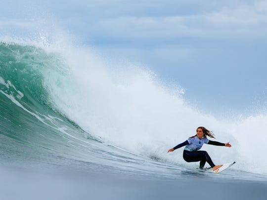 Caroline Marks won Heat 3 of Round 3 at the Rip Curl Pro, Bells Beach.