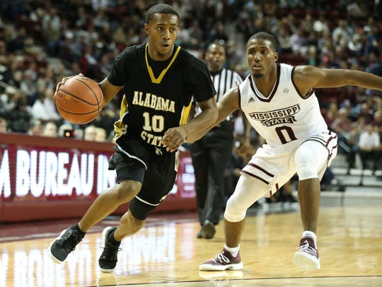 Alabama State guard Jacoby Ross scored 17 points on