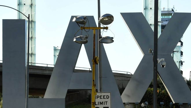 "A view of the ""LAX"" sign at Los Angeles International Airport in 2015."