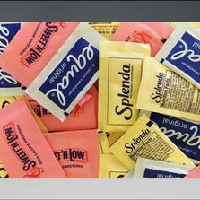 Artificial sweeteners are displayed, on Wednesday, Sept. 17, 2014, in New York. Artificial sweeteners may set the stage for diabetes in some people by hampering the way their bodies handle sugar, according to results of a study released Wednesday by the journal Nature.