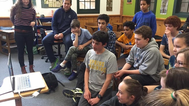 Students at the Endeavour Middle School in Shelburne on a Skype session with their peers in Uganda. It is part of a special partnership formed between 52 Kids Foundation of Charlotte and the Endeavor Middle School. More inside.