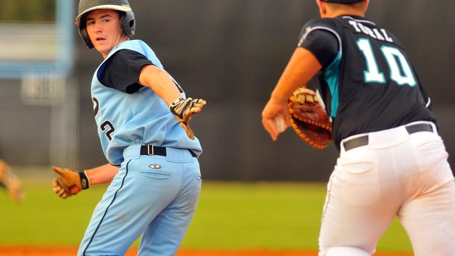 Rockledge High's Austin Dennis, as pictured running the bases in a playoff game against Archbishop McCarthy last May.