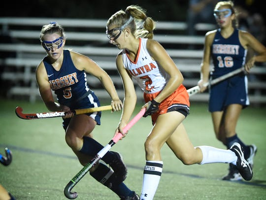 Hershey defender Natalie Sicher chases down Palmyra's