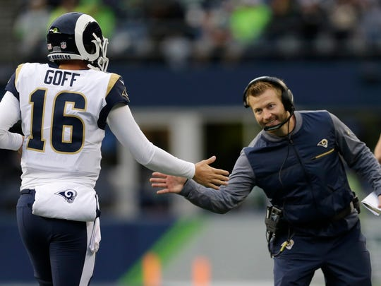 First-year head coach Sean McVay, right, and second-year quarterback Jared Goff are two of the biggest reasons the Rams won the NFC West and ended their postseason drought.