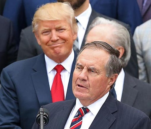 Apr 19, 2017; Washington, DC, USA; New England Patriots head coach Bill Belichick (M) speaks as President Donald Trump (L) and Patriots owner Robert Kraft (M-R) and Patriots president Jonathan Kraft (R) listen at a ceremony honoring the Super Bowl LI