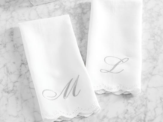 "Monique Lhuiller ""Jolie"" embroidered guest hand towel"