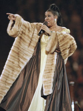 Aretha Franklin performs at pre-inaugural festivities,