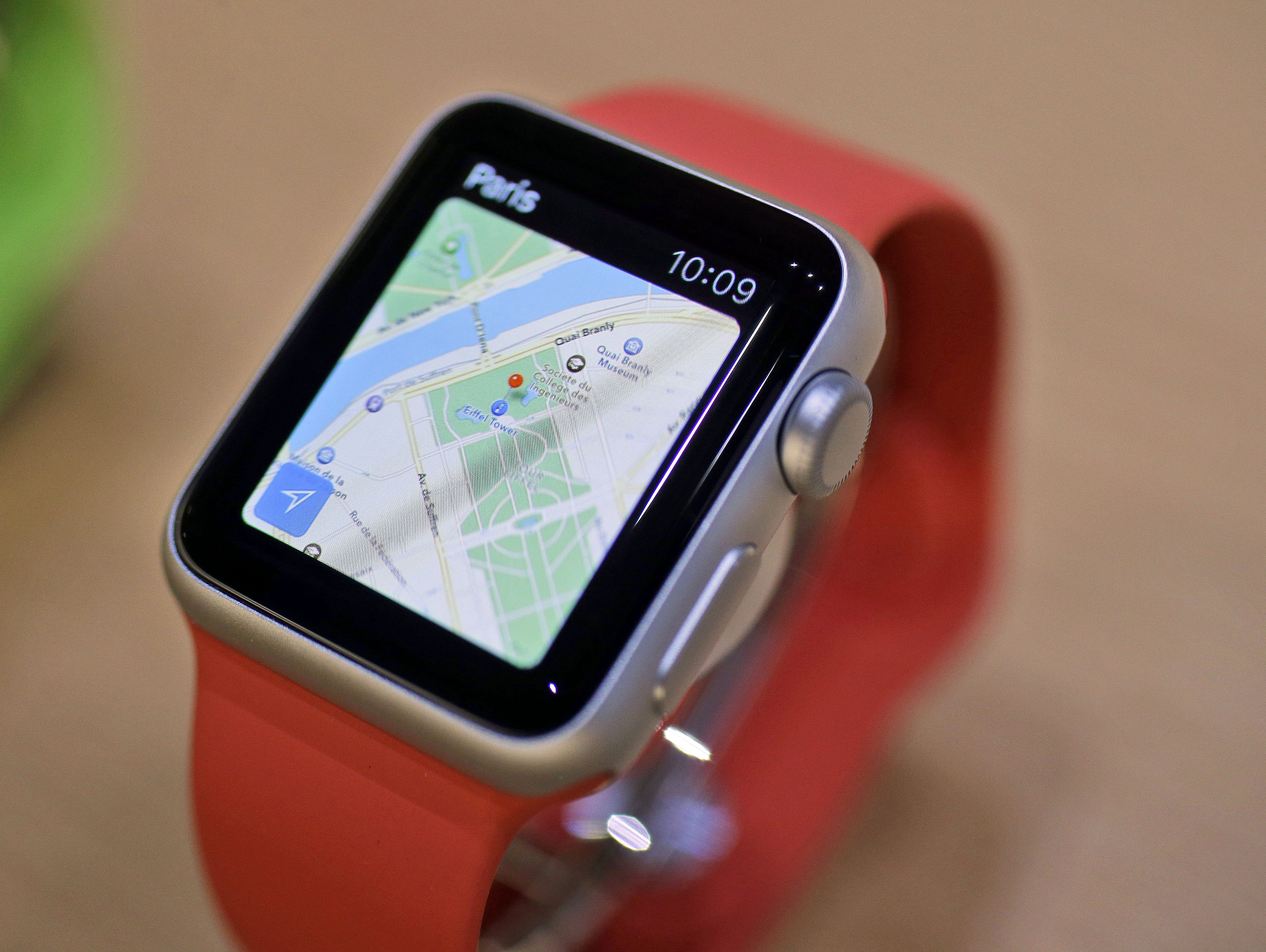 FILE - The Apple Maps app is displayed on an Apple Watch during an event in San Francisco.