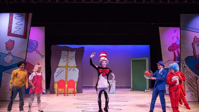 "The Children's Theatre of Cincinnati opens its new Showtime Series with director Deondra Kamau Means' production of ""Dr. Seuss's The Cat in the Hat."" Featured in the show are (from L) Kelcey Steele as The Boy, Kalie Kaimann as The Girl, Rhys Boatwright as The Fish and Tiffany Rusch as Thing 2. The production runs June 2-July 9 in TCT's new Showtime Stage, 4015 Red Bank Rd., Hyde Park."