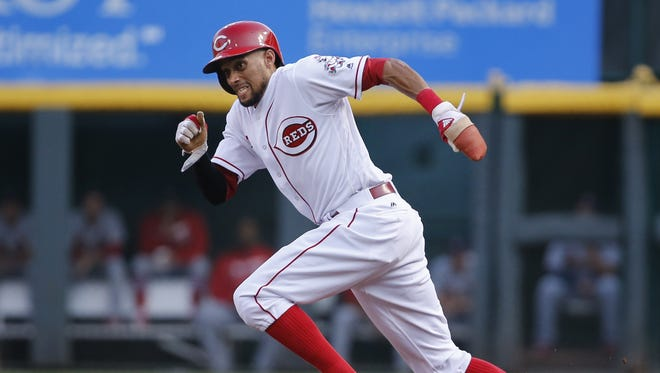 Reds center fielder Billy Hamilton steals second base against the Cardinals on Aug. 2.