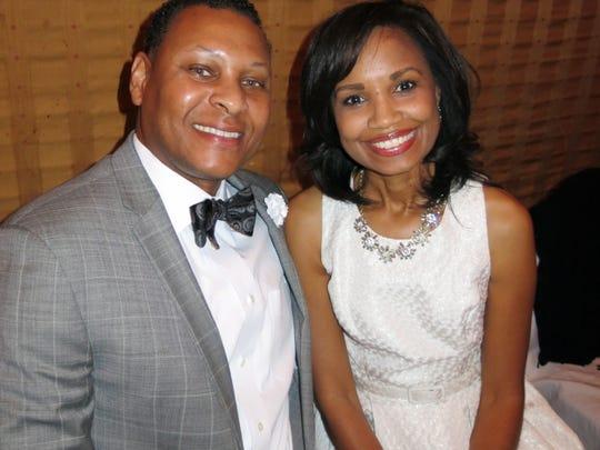 Michael and Natalie Robertson at Krewe Harambee coronation.