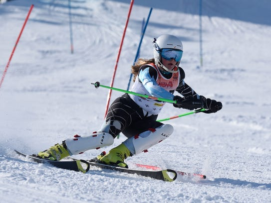 Grace Dillion, Bloomfield Hills, on slalom course at