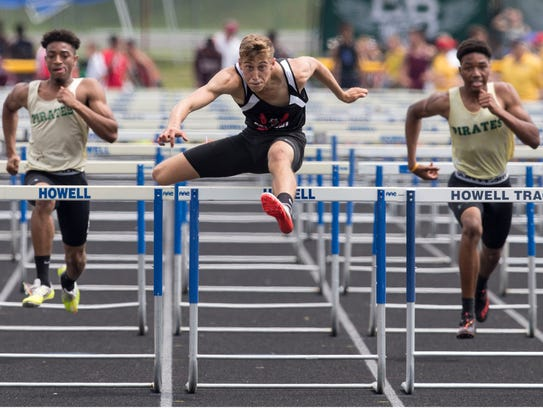 Hunterdon Central's Jameson Woodell  wins the Central Group IV boys 110 hurdles.