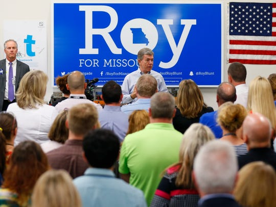 Republican Sen. Roy Blunt speaks at a rally at Positronic