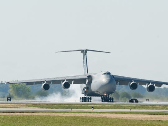 A C-5M Super Galaxy lands on at the Dover Air Force Base in 2016.