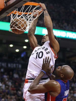 DeMar DeRozan (10) dunks home two of his game-high 29 points.