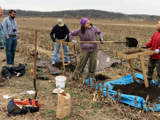 State archaeologist John Hedden, from left, Peter Hoehnle of the Amana Society and volunteers Rick Frame of Norway, Ia., Charlotte Wright of Iowa City and Dora Bopp of Walker help excavate a former Meskwaki settlement Monday in rural South Amana. The settlement had been the village of Wacoshashe from 1839 to 1843.