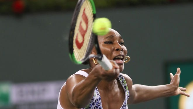Venus Williams plays her sister Serana Williams at the BNP Paribas Open, March 12, 2018.