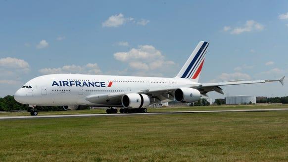 Air France's Airbus A380 visits Washington Dulles Airport