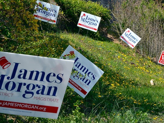 Election signs line the road along Pennsylvania Avenue in York City, Wednesday April 29, 2015.   John A. Pavoncello - jpavoncello@yorkdispatch.com