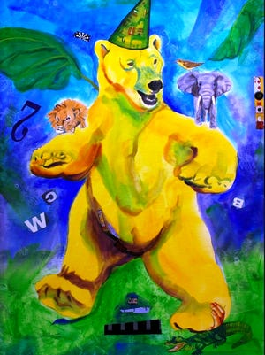 """""""Balancing Act Bear"""" by Debra Lee Hellwig will be among the artwork in the """"Balance"""" themed exhibit by the Open Door Artists group April 4 to May 1 at the Fond du Lac Public Library's Langdon Divers Gallery."""