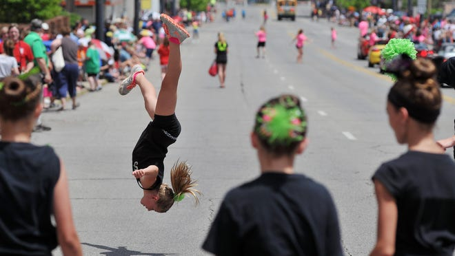 Students from Sophistication Dance Company perform during the Sunday's Miss Ohio Parade in Mansfield.