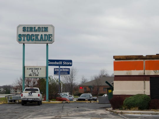 The former Sirloin Stockade restaurant at 4949 Hessler Road is undergoing a massive renovation ahead of the opening of a new AutoZone at the site, seen Nov. 12, 2015.