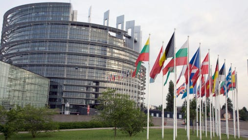 European flags at the Council of Europe Building in Strasbourg, France.