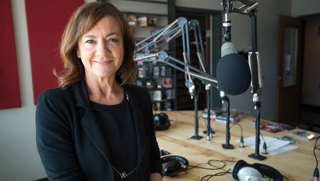 Jen Parker is pictured in the studio at KRFC on Tuesday. Parker took over as executive director of the community radio station last week.
