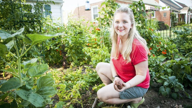 Lyndsey Roth of Lebanon, digs up potatoes in her city garden. One potato plant can give her three to five pounds of spuds in a harvest.