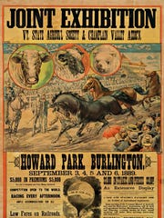 Poster from the joint exhibition of the Vermont State Agricultural Society and Champlain Valley Association that took place in Howard Park in Burlington in 1889.